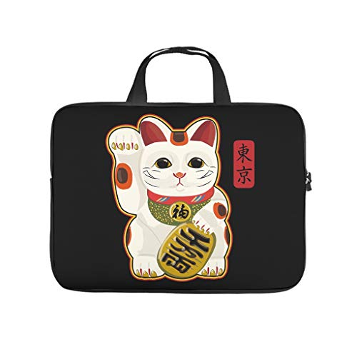 Laptop Bag Japanese Lucky Cat Wear-Resistant Lightweight Briefcase Compatible with 13-15.6 Inch Notebook