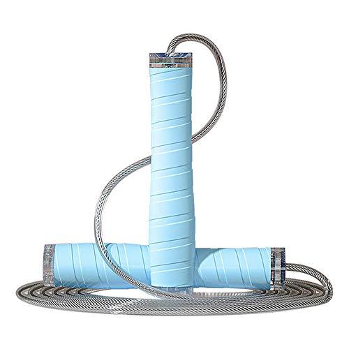 PASLWSSY Cuerda Salto inalámbrica Mujeres Fitness, Cuerda Salto Ajustable, Cable Acero Recubierto PVC para Entrenamiento, Cuerda Velocidad sin marginada para niños Ejercicio Interior Aire Libre,Azul