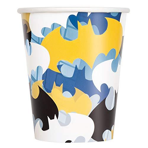 Unique- Paper Cups-9 oz. | Disposable | Batman | 8 Pc Bicchieri di carta-255,1 g. | monouso Pezzi,...