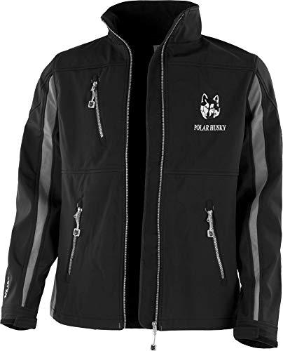 Polar Husky® Herren Softshell-Jacke mit Fleece-Innenfutter - wasserdichte Regenjacke Outdoor Farbe Schwarz/Grau Größe L