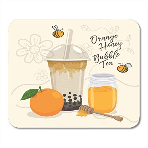 Muis Pads Milkshake Melk Oranje Honing Bubble Thee Cup Bijen Muismat voor Notebooks,Desktop Computers Muismatten