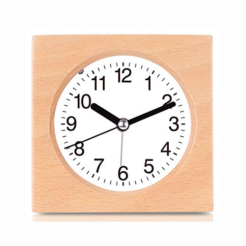 Alarm Clock Battery Operated Snooze Mute Night Light Digital Wood Plein Thuis Bedroom Nachtkastje Office Kids Student Stil Ontwerp (Size : 10 * 10 * 4.5cm)