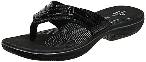 Clarks Women s Breeze Sea Flip-Flop, Black Synthetic Patent, 10