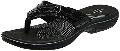 Clarks Women's Breeze Sea Flip-Flop, Black Synthetic Patent, 6