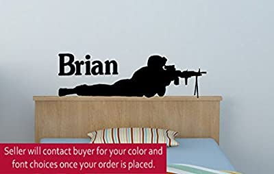Soldier Wall Decal Boys Name Sticker Military Decal Teen Boys Room Personalized Vinyl Wal Decal Army Marine Decal