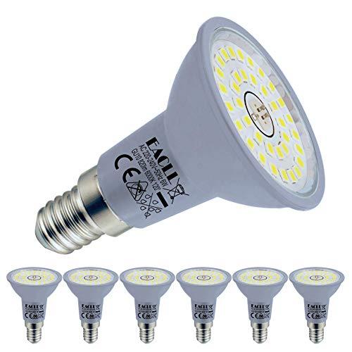 EACLL E14 LED 6000K Kaltweiss 6W Leuchtmittel 820 Lumen Birnen kann Ersetzen 65W Halogen Glühbirnen. AC 230V Kein Strobe Energiesparlampe, Abstrahlwinkel 120 ° Strahler, R50 Reflektor Lampen, 6 Pack