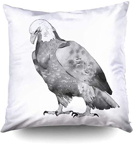 Funda de almohada con cremallera, fundas de funda de almohada de tiro cuadrado Ilustración estándar de acuarela de águila pintada a mano aislada sobre fondo blanco impresa con ambos lados