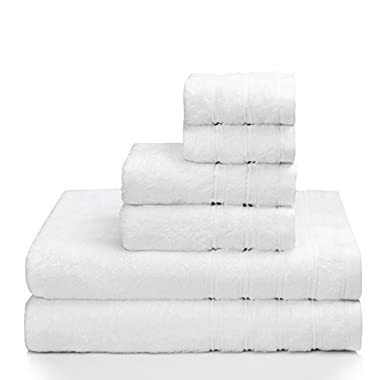PROMIC 100% Quality Cotton Hotel & Spa Bath Towel Set, 6 Piece Includes 2 Bath Towels, 2 Hand Towels, and 2 Washcloths – 500GSM, Highly Absorbent and Softness, Fade-resistant, White