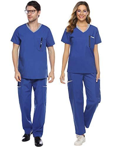 Abollria Unisex Medizinische Uniform Schrub Set aus Baumwollemix Schlupfkasack+Schlupfhose mit vielen Taschen für Medizin Pflege Krankenhaus,Blau für Frauen,S