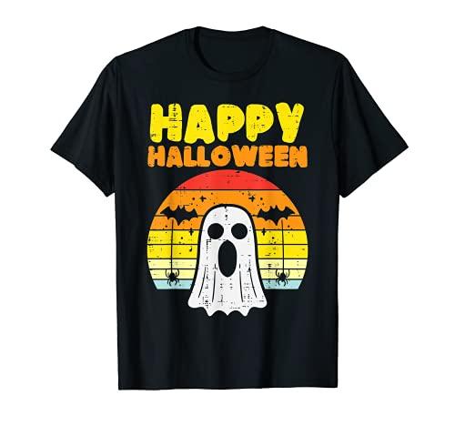 Happy Halloween Fantasma Sunset Bat Retro Spider Hombres Mujeres Niños Camiseta