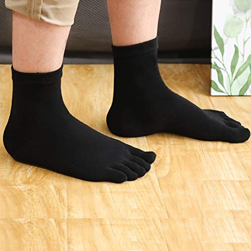 Teenloveme Mens Five Finger Toe Socks Cotton Running Mini Crew Socks, UK Men's shoes 6-10, Pure Black-5 Pairs