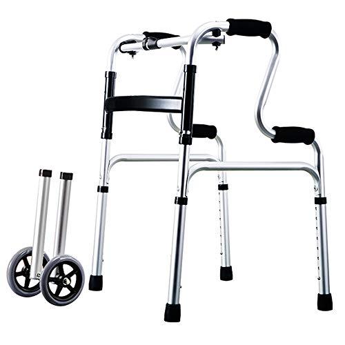 WY-WHEEL Andador Plegable para Ancianos Ligero, con Dos Ruedas, para Adultos- Folding Walker Adjustable, Lightweight Portable, Compact Elderly,Medical Walking Mobility Aid