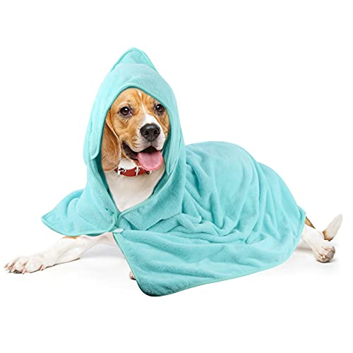 Sinland Microfiber Oversized Hooded Bath Pet Towel for Dogs and Cats 40inch x40inch (Lightcyan)