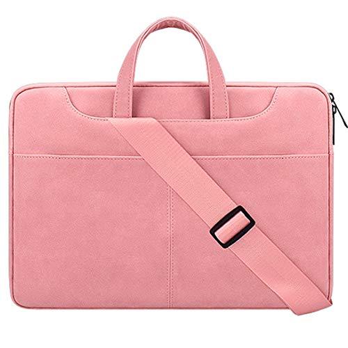 Laptop Tasche 13.3-15.6 Zoll Notebooktasche Aktentasche Tablet Tasche Schulter Umhängetasche Wasserabweisend Satchel Bussiness Laptoptasche für Frauen und Männer,Rosa,15.4inches