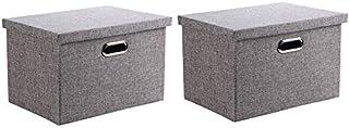 MU Grande boîte de rangement en tissu, boîte de rangement pliable, boîte de rangement pour livre de vêtements jouets,gris,...