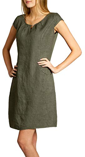 Caspar SKL020 knielanges Damen Sommer Leinenkleid mit eleganter Metallspange bis Größe 50, Farbe:Oliv grün, Größe:S - DE36 UK8 IT40 ES38 US6
