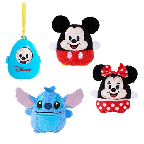 Disney Classics Cutie Beans 2.5-Inch Surprise Plush and Clip-On Carrier, 3 Pack, Mickey, Minnie, Stitch