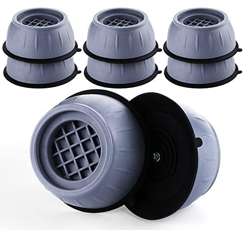 ilauke 8er Set Universal Anti Rutsch Gummi Fußpolster, Vibration Dämpfer Pads für Waschmaschinen Trockner & Kühlschrank, Dämpfung, Rutschfest, Boden schützen, Grau