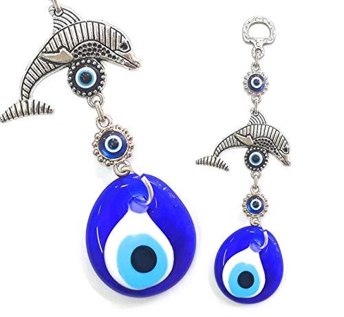 Perlin Nazar Boncuk Boncugu turco azul Ojo Evil Eye, delfín, colgante de...