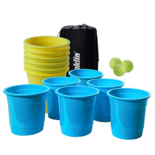 Franklin Sports Bucketz Juego de Pong – Juego portón Trasero y Juego de Playa – Pong Set Incluye 6 cubetas, 3 Bolas y una Funda de Transporte