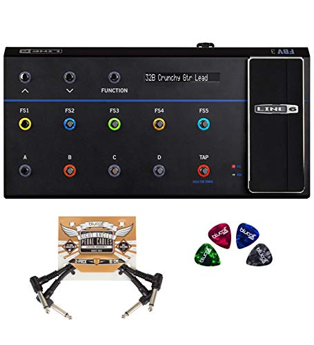 Line 6 FBV 3 Pedalboards Foot Controller for Line 6 Amps and Multi-Effects Processors Bundle with Blucoil 2-Pack of Pedal Patch Cables, and 4-Pack of Celluloid Guitar Picks