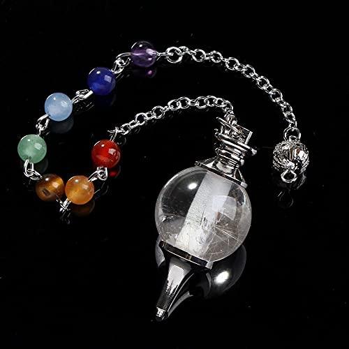 7 Chakra Piedra 18mm Beads Rock Crystal Healing Chakra Dowsing Ball Péndulo con encanto de cadena Joyería-Chakra de cristal de roca