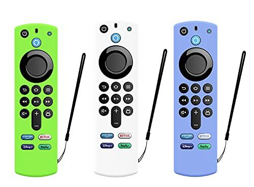 Schutzhülle für Alexa Voice Remote (3. Generation) – 2021 Release Fire TV Stick 4K Remote Silikon Cover Glow Remote Skin (weiß, blau, grün)
