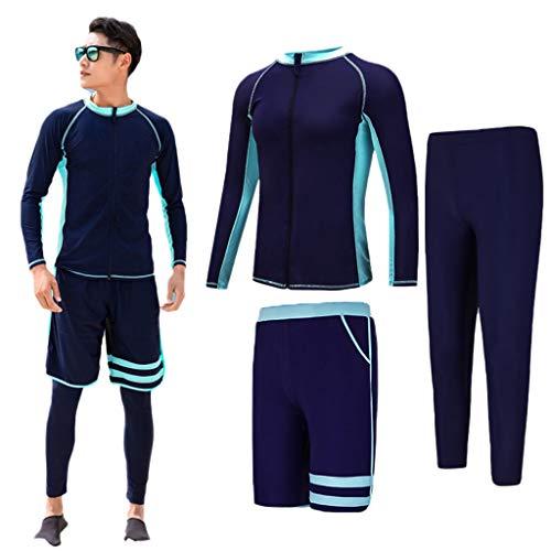 YULAN wetsuit voor heren, 3-delige set van elastische ritssluiting, lange mouwen, zonnebescherming, zeilboot kano, zwemmen, surfplank