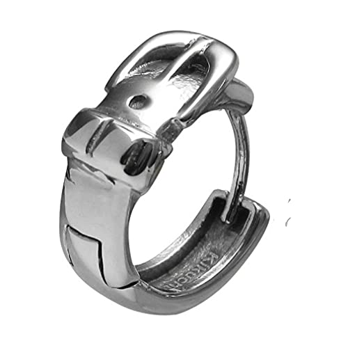 1 pendientes de aro para hombre, de acero inoxidable, con cinturón plateado brillante, 15,4 mm de diámetro, ER15163