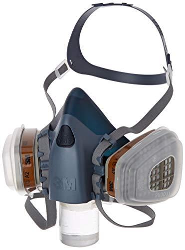 3M Gase-& Dämpfe-Maskenset mit 1 Stück 7503 Halbmaske (Größe L), 2 Stück 6055 A2 Gasfilter, 4 Stück 5935 P3R Partikelfilter, 2 Stück 501 Deckel, 7523L, EN-Sicherheit zertifiziert