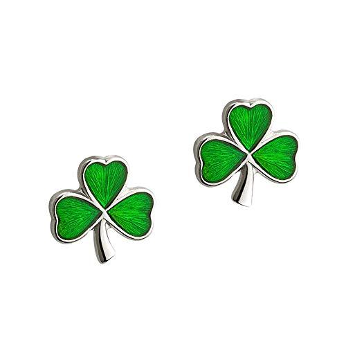 Irish Shamrock - Irische Kleeblatt Ohrstecker - Sterling Silber & Emaille aus Irland