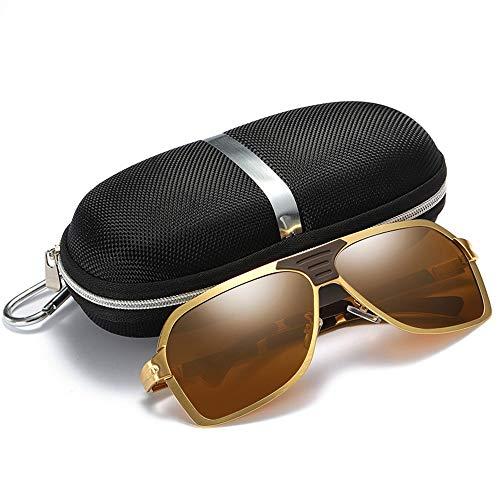 XIAOTANBAIHUO Anteojos Gafas de sol de pesca polarizadas para hombres, montura grande, gafas de sol de primavera Gafas de protección UV Protección contra los rayos de sol (Color : Goldn frame/tawny)