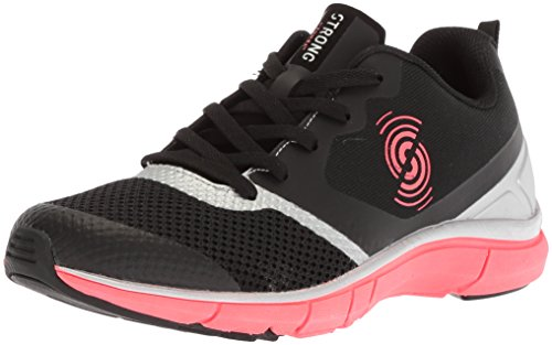 STRONG by Zumba Women's Fly Fit Athletic Workout Sneakers with High Impact Support Cross Trainer, Black/Silver, 6