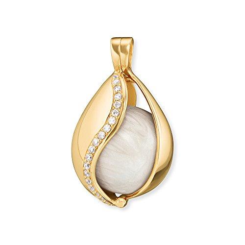 Engelsrufer Himmelsträne Anhänger für Damen mit Perlmutt Klangkugel Vergoldet 925er-Sterlingsilber Weiße Zirkonia Größe 25,5 mm