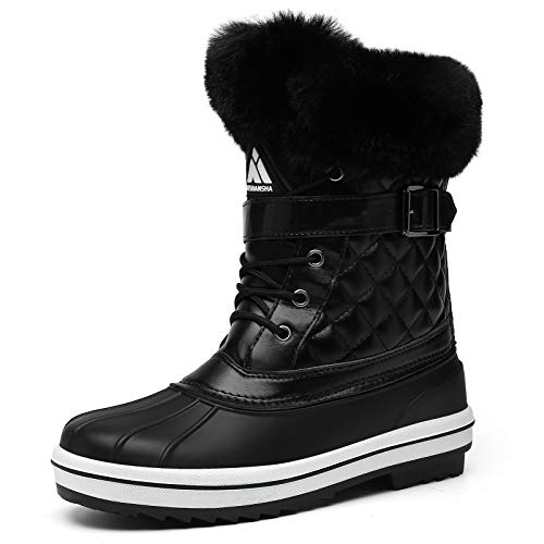 Women Fur Lined Mid-Calf Boots Waterproof Sole Leather Snow Booties Lace-Up Anti-Slip Winter Shoes US 6 Eerie Black