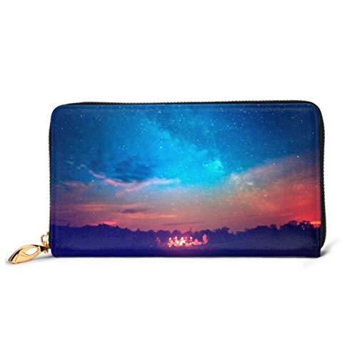 JHGFG Mode Handtasche Reißverschluss Brieftasche Camping Feuer unter erstaunlichen blauen Sternen Telefon Kupplung Geldbörse Abendkupplung Blockieren Leder Brieftasche Multi Card Organizer