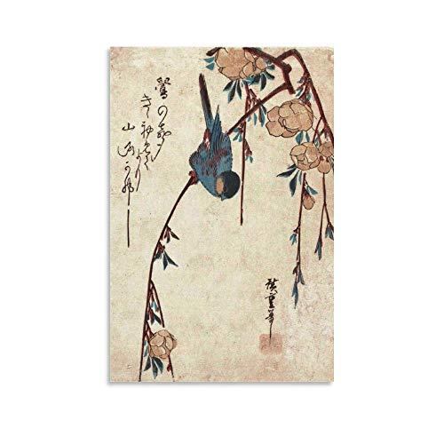 ERTYG Póster decorativo para pared de arte japonés vintage llorando cerezo y pájaro, impresión de cuadro moderno para decoración de dormitorio familiar, 40 x 60 cm
