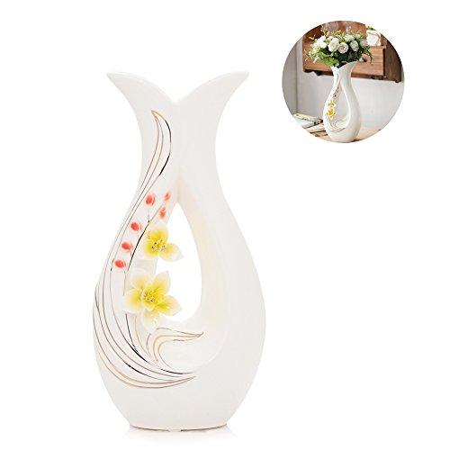Tall White Ceramic Flower Vases,11.6'' High Decorative Vases with Handmade...