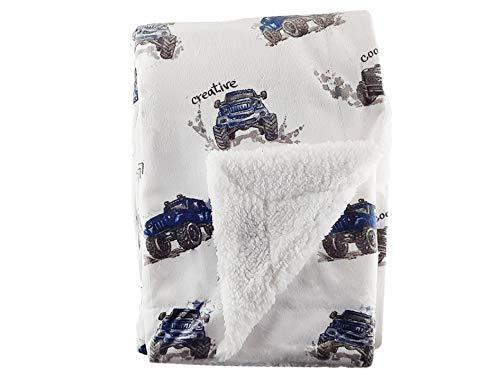 Cars Design – Couverture polaire douce pour nouveau-né avec dos en fourrure – Idéal pour les voyages (siège auto), landau/poussette, berceau, couffin