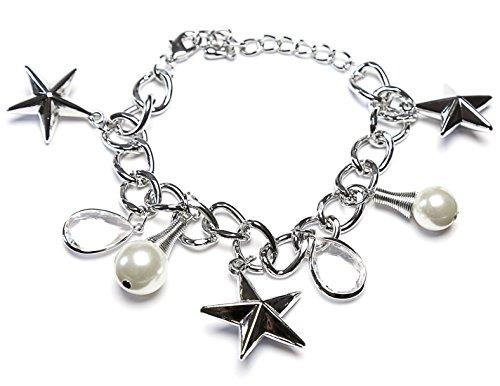 Élégant Love étoile strass Gouttes pierres et perles Femme Bracelet élégant bracelet collier, bracelet et design Rare Garniture en argent unisexe Stars Collection Argent Perles et strass