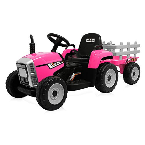 Kidzone 12V Kids Battery Powered Electric Tractor with Trailer Toddler Ride On Ground Loader w/ 2 Speeds 7-LED Lights USB & Bluetooth Audio Treaded Tires, Pink