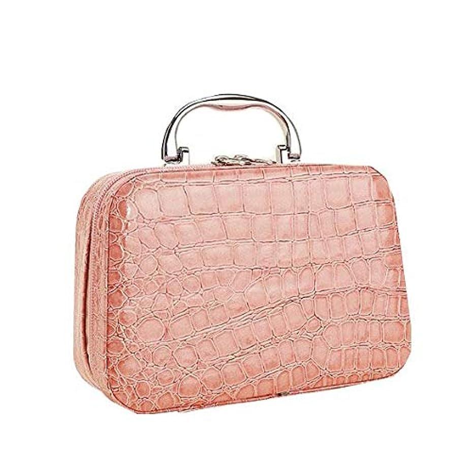ベルトラリーベルモントインシデント化粧箱、ピンクのワニ皮の化粧箱、携帯用携帯用旅行化粧品の箱、美の釘の宝石類の収納箱