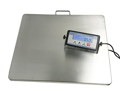 Angel USA Extra Large Platform 22 Inches x 18 Inches Stainless Steel 400 Pounds Heavy Duty Digital Postal Shipping Scale, Powered by Batteries or AC Adapter, for Floor Bench Office Weight Weighing