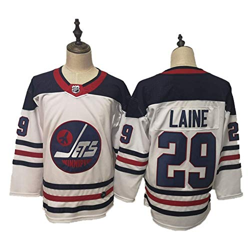 Yajun Patrik Laine#29 Winnipeg Jets Eishockey Trikots Jersey NHL Herren Sweatshirts Atmungsaktiv T-Shirt Bekleidung,White-Black,2XL