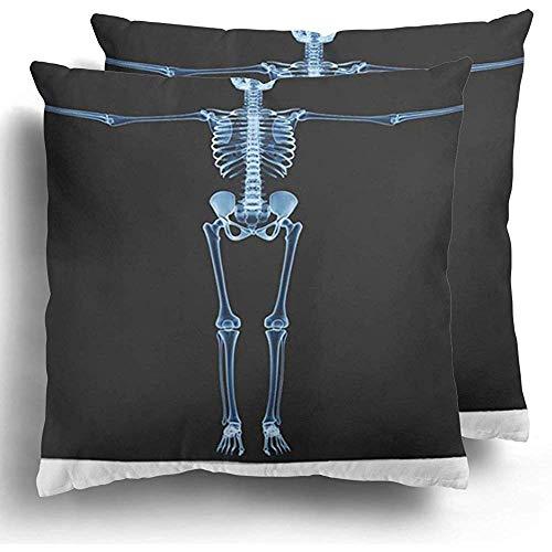 Gooi kussenslopen 1 pak Body X Ray Skeleton R Ntgen op zwart Da Vinci bot volledige wervelkolom menselijke Xray Scan schedel