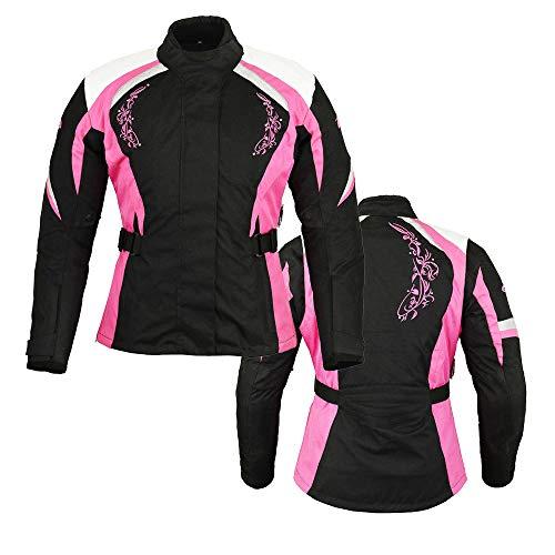 Motorrad Damen wasserdichte Jacke Motorrad Frauen gepanzerte Textil Cordura Mantel rosa mit schwarz - mittel