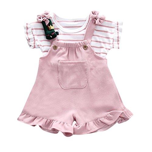 Counjunto de Ropa bebé niña, Linda Camisa de Manga Corta a Rayas de Verano para niñas bebé + pantalón Corto de Tirantes Bebés Conjuntos 6 Mes - 3 Años (Rosado, Tamaño:3 Años)