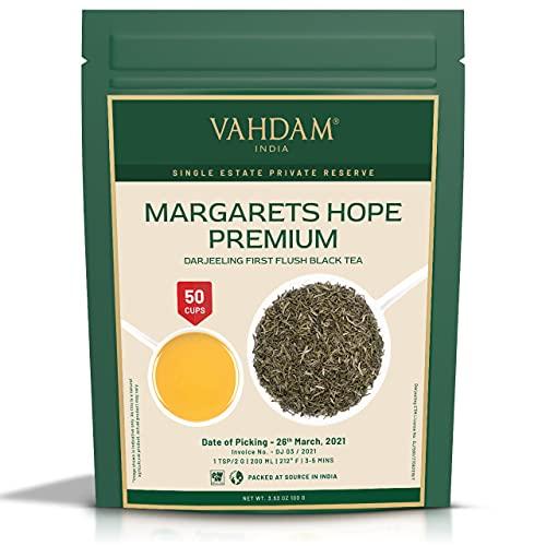 VAHDAM, Margarets Hope Premium Darjeeling First Flush Black Tea 2021 | 3.53Oz/100g, Exclusive Hand Picked Black Loose-Leaf Tea | Fresh Harvest | Your Refreshing Morning Cup Of Tea | Brews 50+ Cups