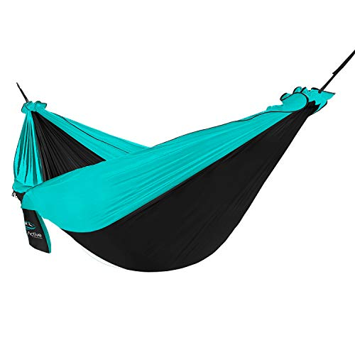 FE Active Outdoor Camping Hammock - Double or Single Hammock with Mosquito Net Portable Hammocks for Trees, Ideal Hammock Swing for Travel, Patio Furniture, Survival Gear | Designed in California, USA