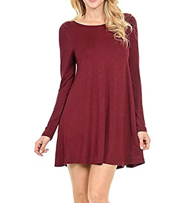OnIn Cosy Stretchy Flowy Loose Fit Tunic Dress for Casual Work Cocktail Beach Lounge Sleep LS WineSmall from